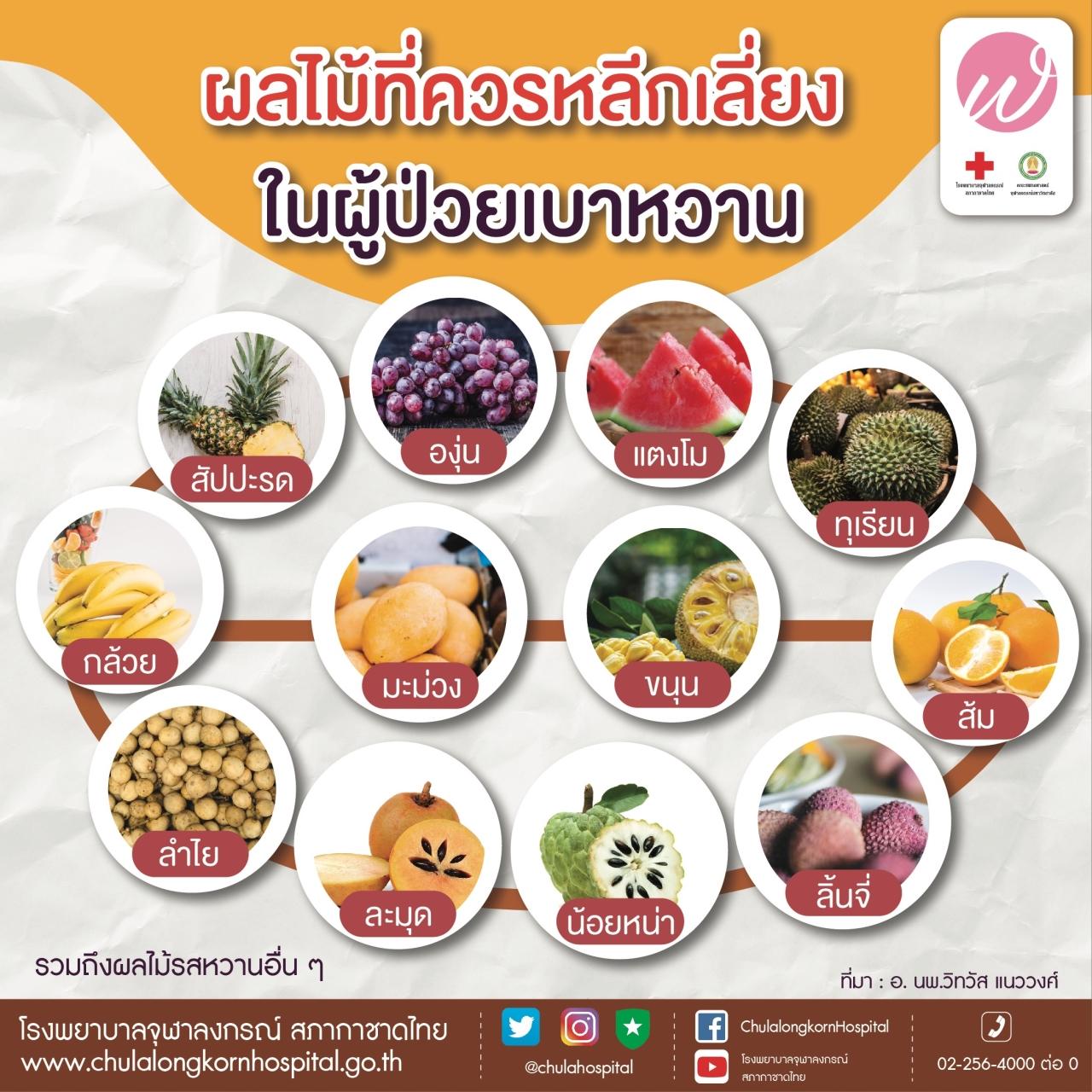 ผลไม้ที่ควรหลีกเลี่ยงในผู้ป่วยเบาหวาน
