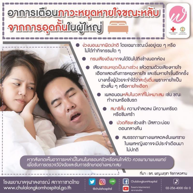 อาการเตือนภาวะหยุดหายใจขณะหลับจากการอุดกั้นในผู้ใหญ่