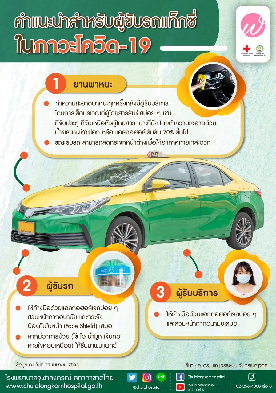 คำแนะนำสำหรับผู้ขับขี่แท็กซี่ในภาวะโควิด-19
