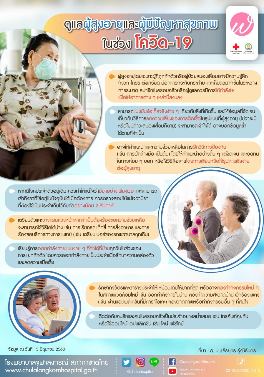 ดูแลผู้สูงอายุและผู้มีปัญหาสุขภาพในช่วงโควิด-19