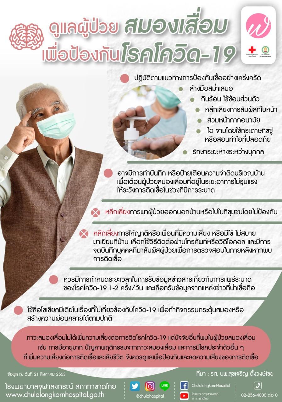ดูแลผู้ป่วยสมองเสื่อมเพื่อป้องกันโรคโควิด-19