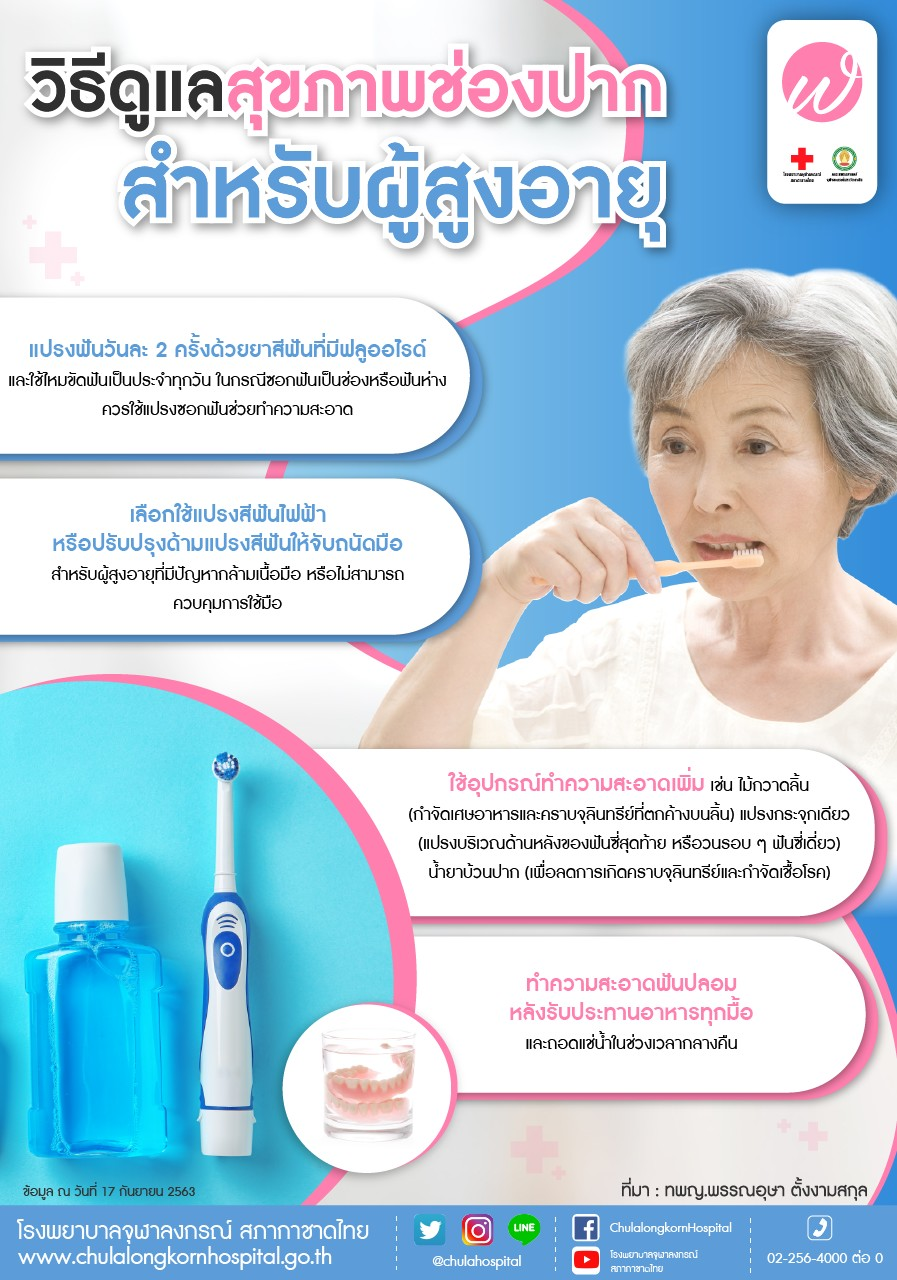 วิธีดูแลสุขภาพช่องปากสำหรับผู้สูงอายุ