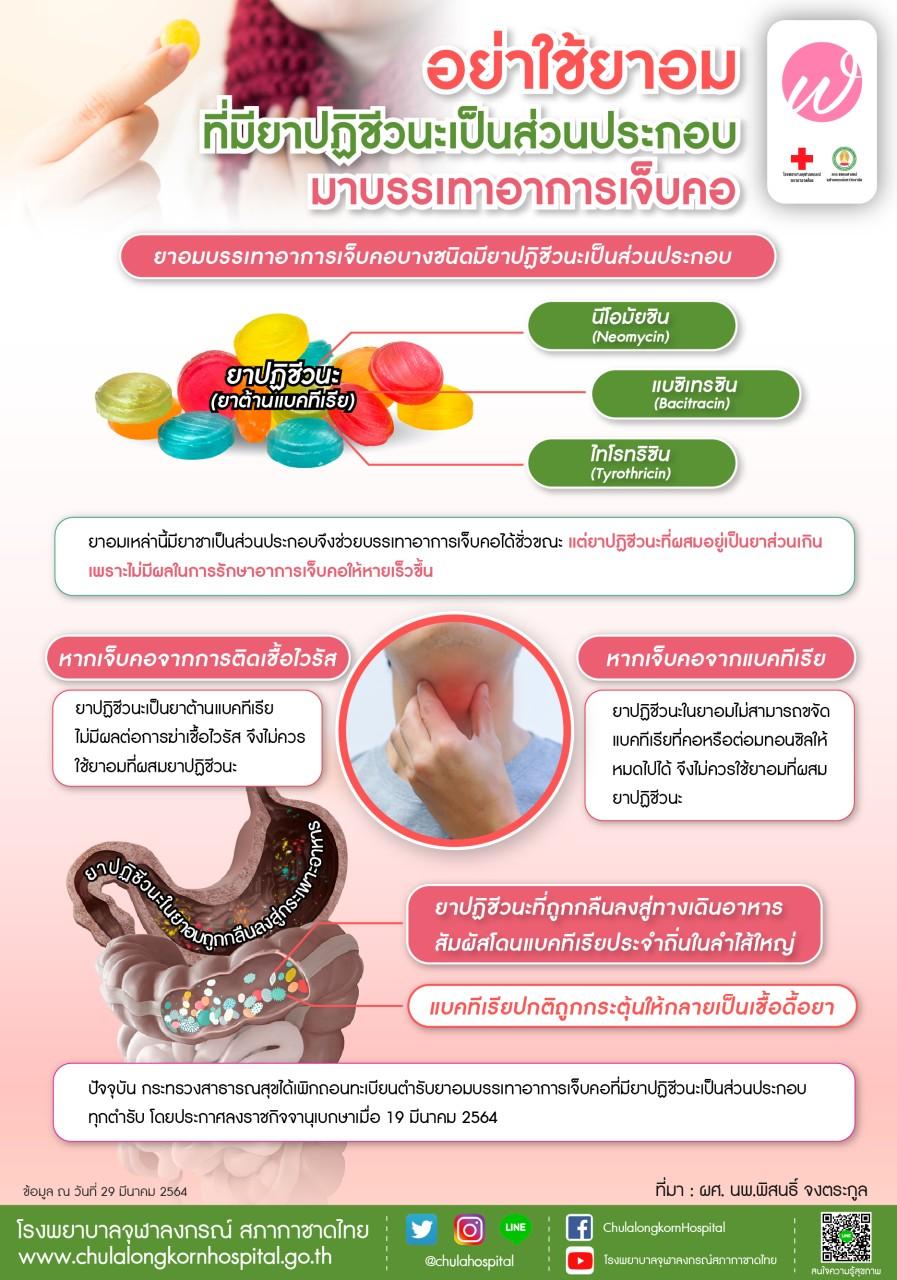 อย่าใช้ยาอมที่มียาปฏิชีวนะเป็นส่วนประกอบ มาบรรเทาอาการเจ็บคอ