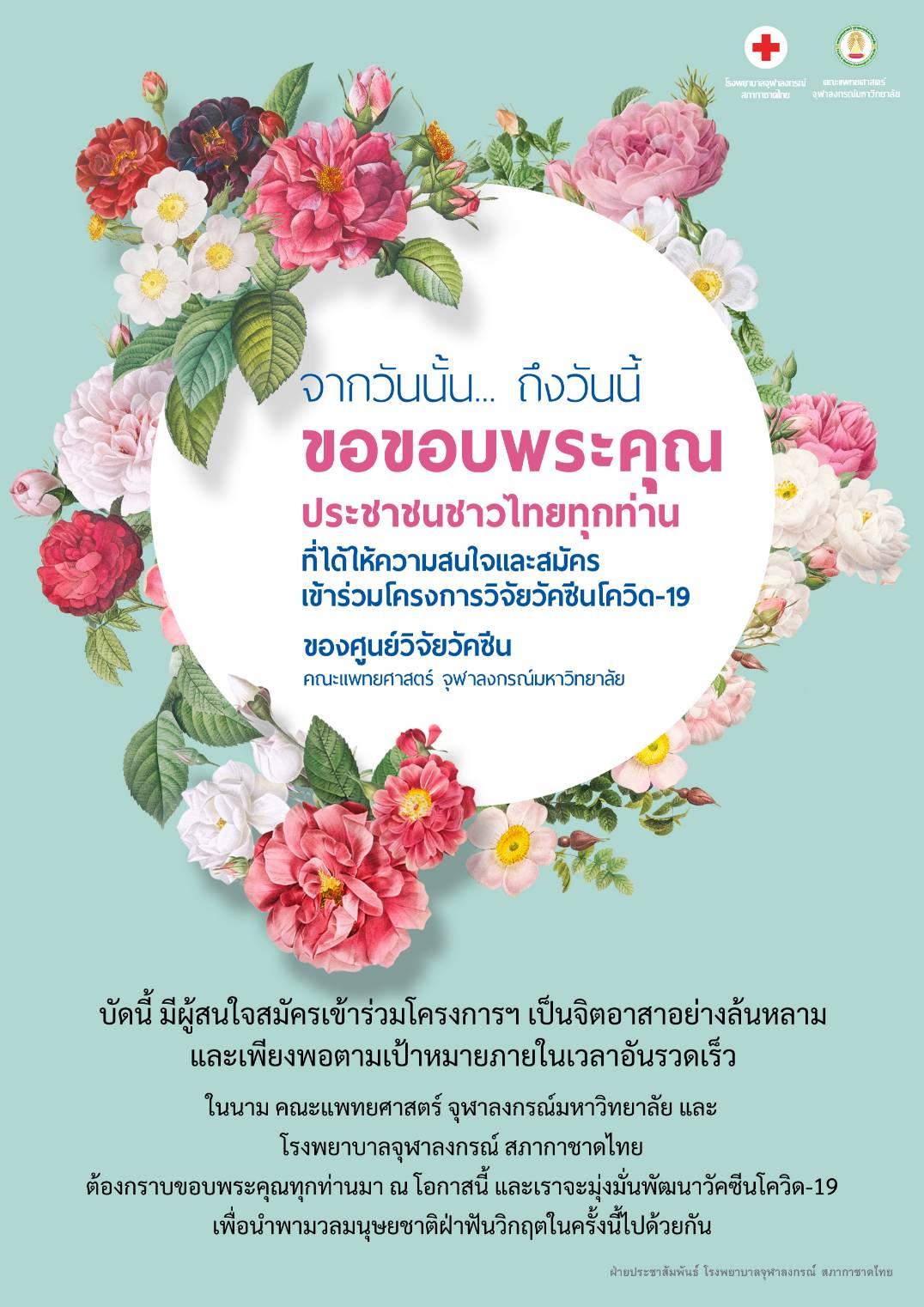 ขอขอบพระคุณ ประชาชนชาวไทยทุกท่าน ที่ได้ให้ความสนใจและสมัคร เข้าร่วมโครงการวิจัยวัคซีนโควิด-19