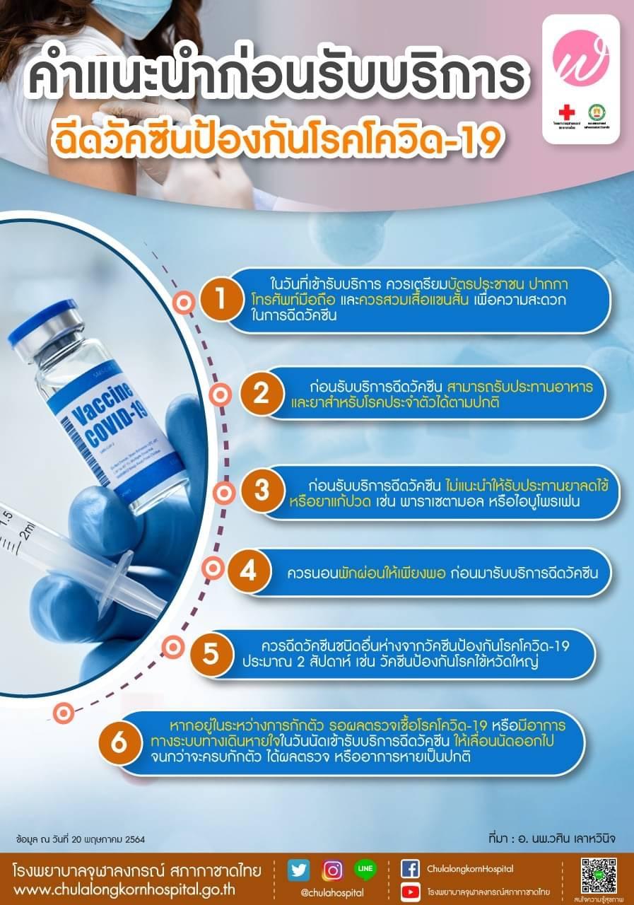 คำแนะนำก่อนรับบริการฉีดวัคซีนป้องกันโรคโควิด-19