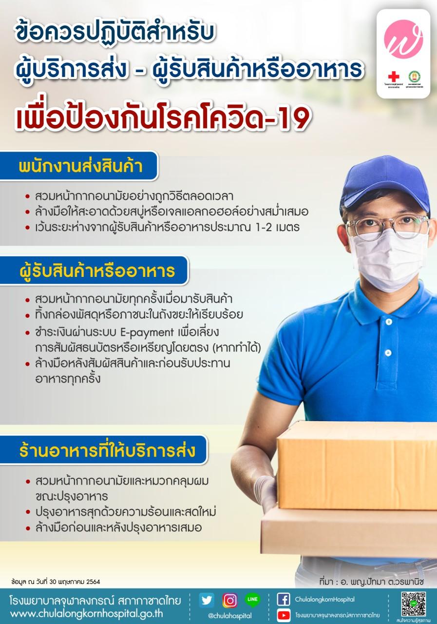 ข้อควรปฏิบัติสำหรับผู้บริการส่ง – ผู้รับสินค้าหรืออาหารเพื่อป้องกันโรคโควิด-19