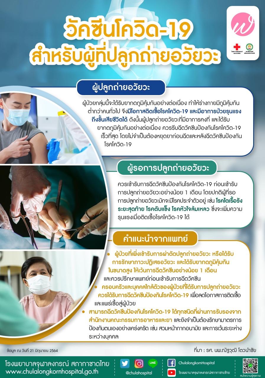 วัคซีนโควิด-19 สำหรับผู้ที่ปลูกถ่ายอวัยวะ