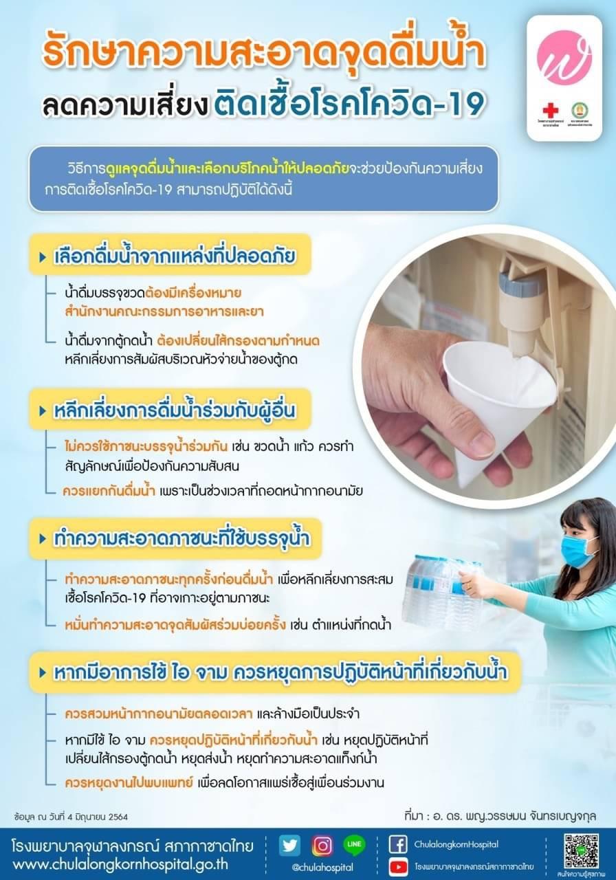 รักษาความสะอาดจุดดื่มน้ำลดความเสี่ยงติดเชื้อโรคโควิด-19
