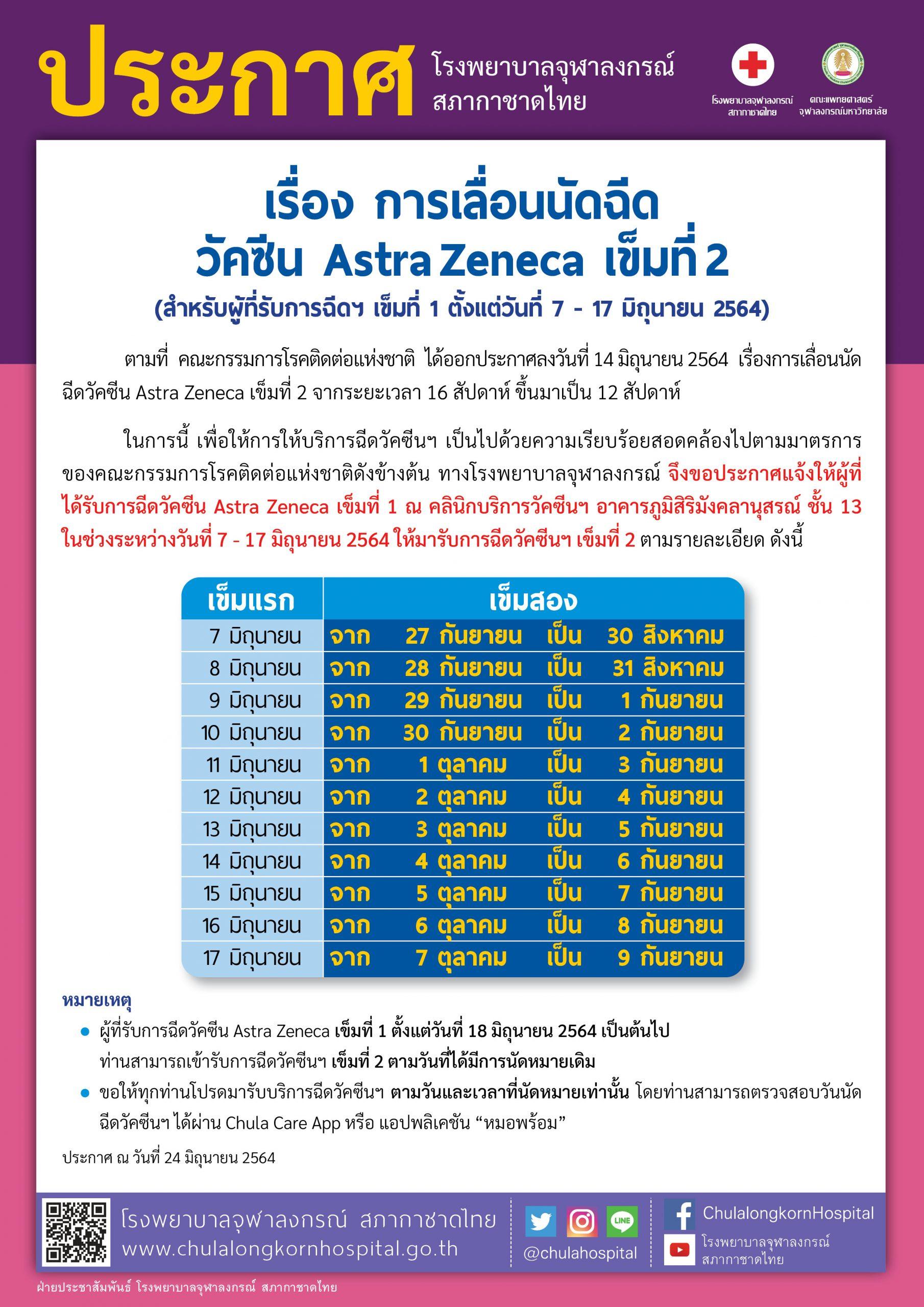 การเลื่อนนัดฉีด วัคซีน Astra Zeneca เข็มที่ 2 (สำหรับผู้ที่รับการฉีดฯ เข็มที่ 1 ตั้งแต่วันที่ 7 – 17 มิถุนายน 2564)