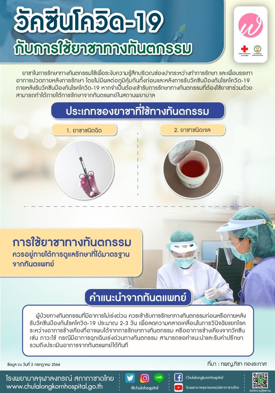 วัคซีนโควิด-19 กับการใช้ยาชาทางทันตกรรม
