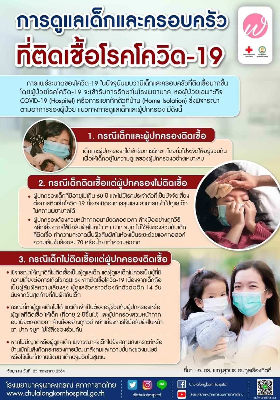 การดูแลเด็กและครอบครัวที่ติดเชื้อโรคโควิด-19