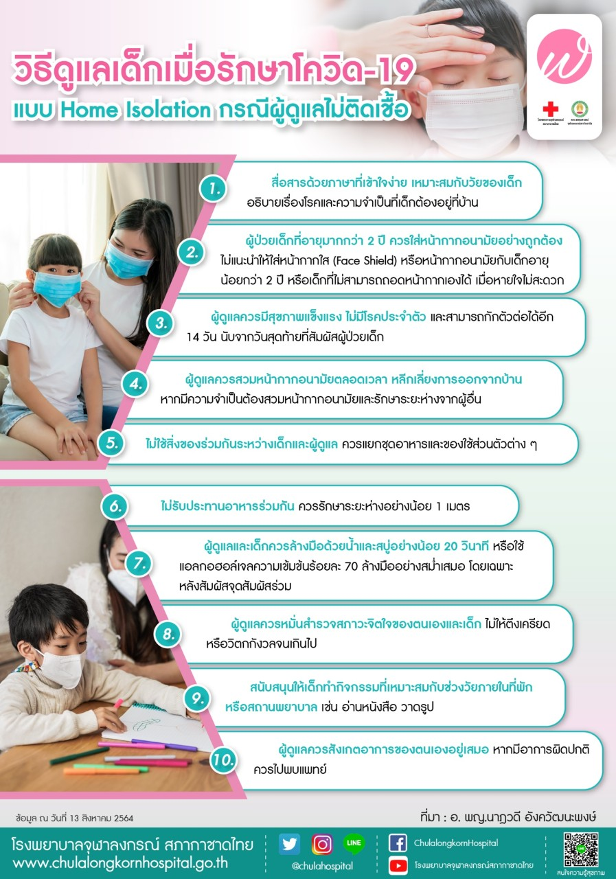 วิธีดูแลเด็กเมื่อรักษาโควิด-19 แบบ Home Isolation