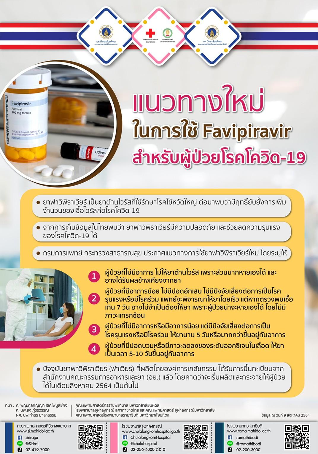 แนวทางใหม่ในการใช้ Favipiravir สำหรับผู้ป่วยโรคโควิด-19