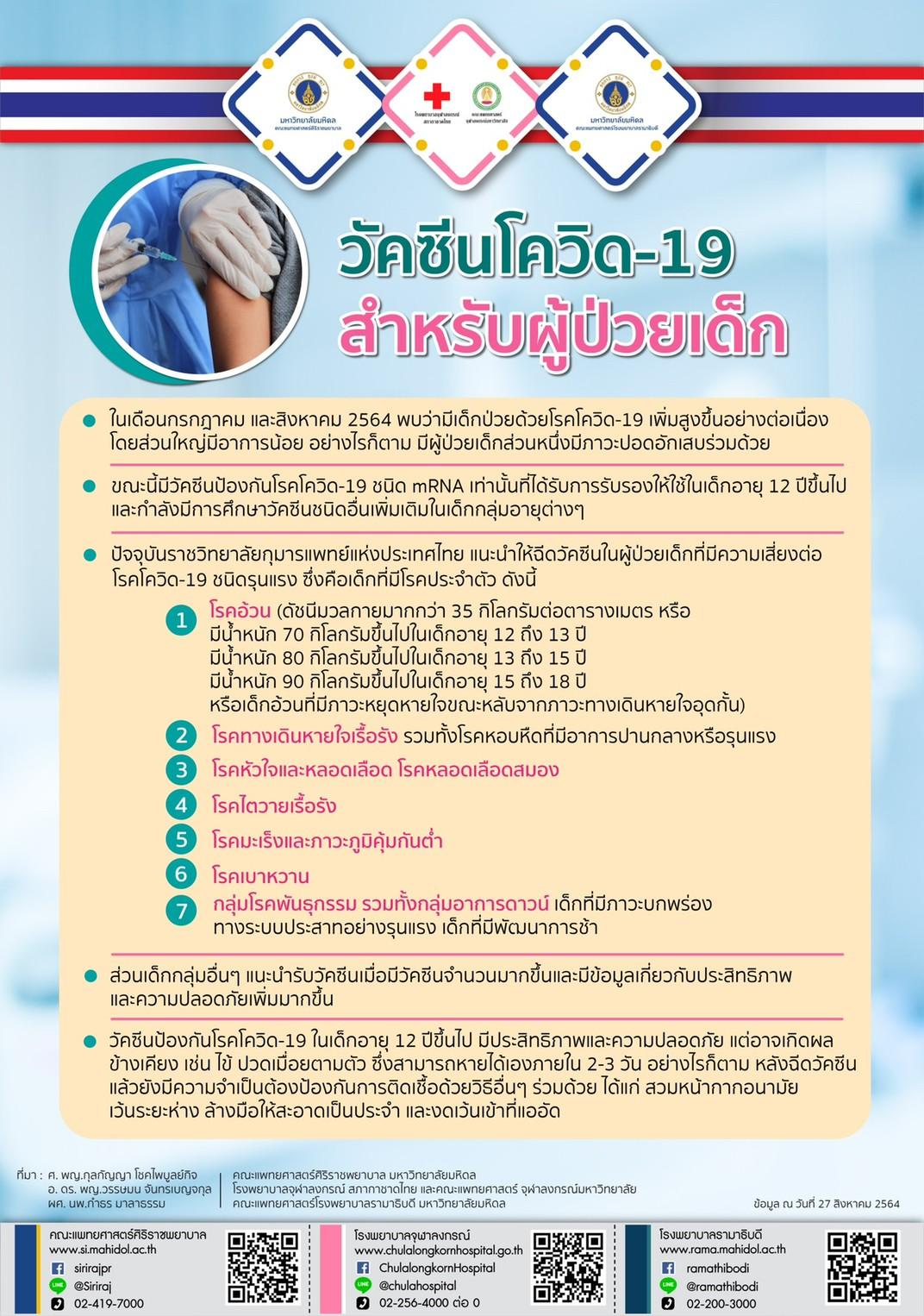 วัคซีนโควิด-19 สำหรับผู้ป่วยเด็ก