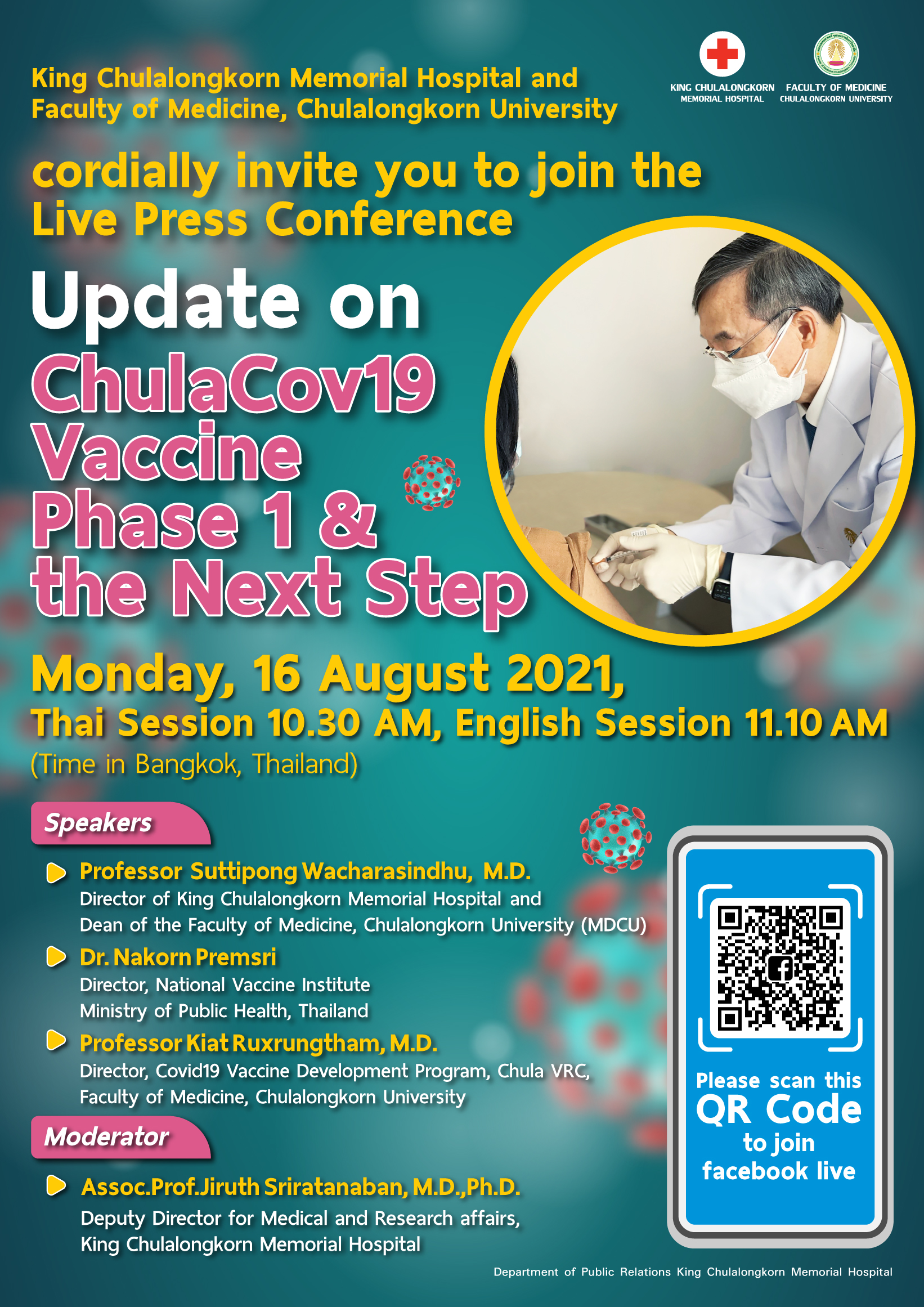Update on ChulaCov19 Vaccine Phase 1 & the Next Step