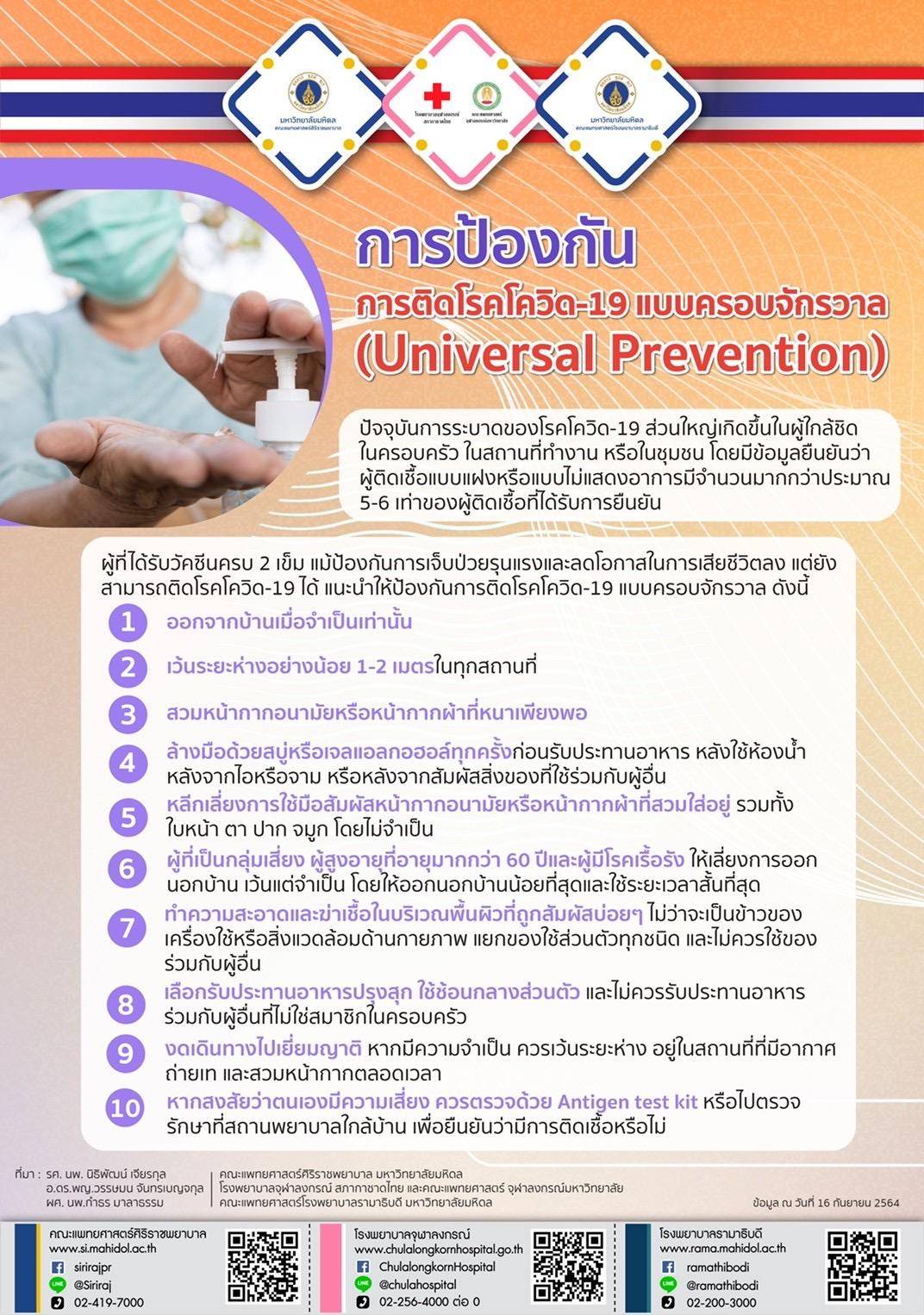 การป้องกันการติดโรคโควิด-19 แบบครอบจักรวาล(Universal Prevention)
